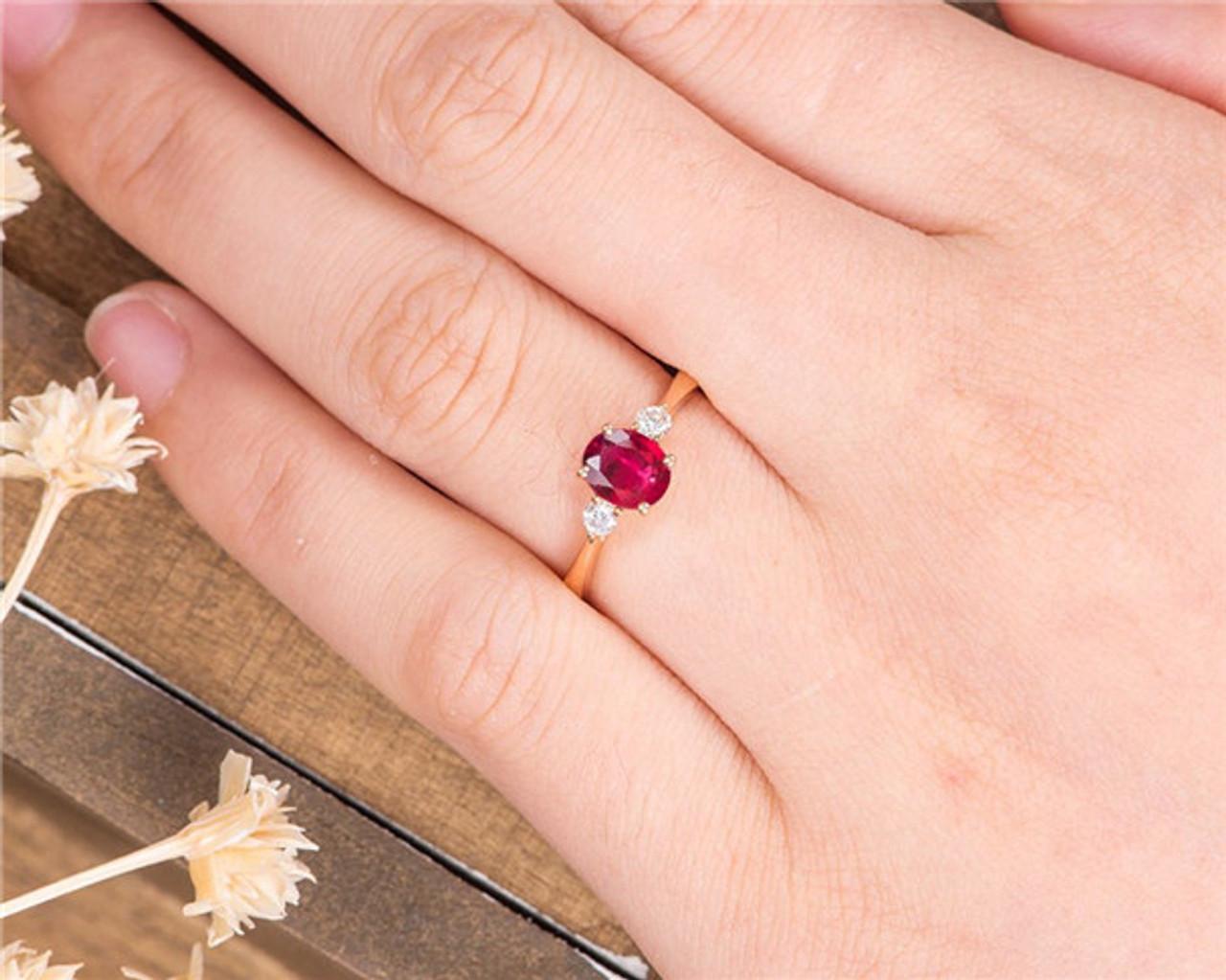 Ruby Wedding Rings.Rose Gold Engagement Ring Lab Ruby Diamond Wedding Half Eternity Birthstone July Anniversary Gift