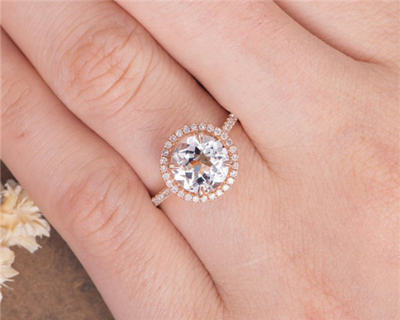Round Cut Natural White Topaz Engagement Ring Rose Gold Anniversary Gift For Women Simple May Birthstone