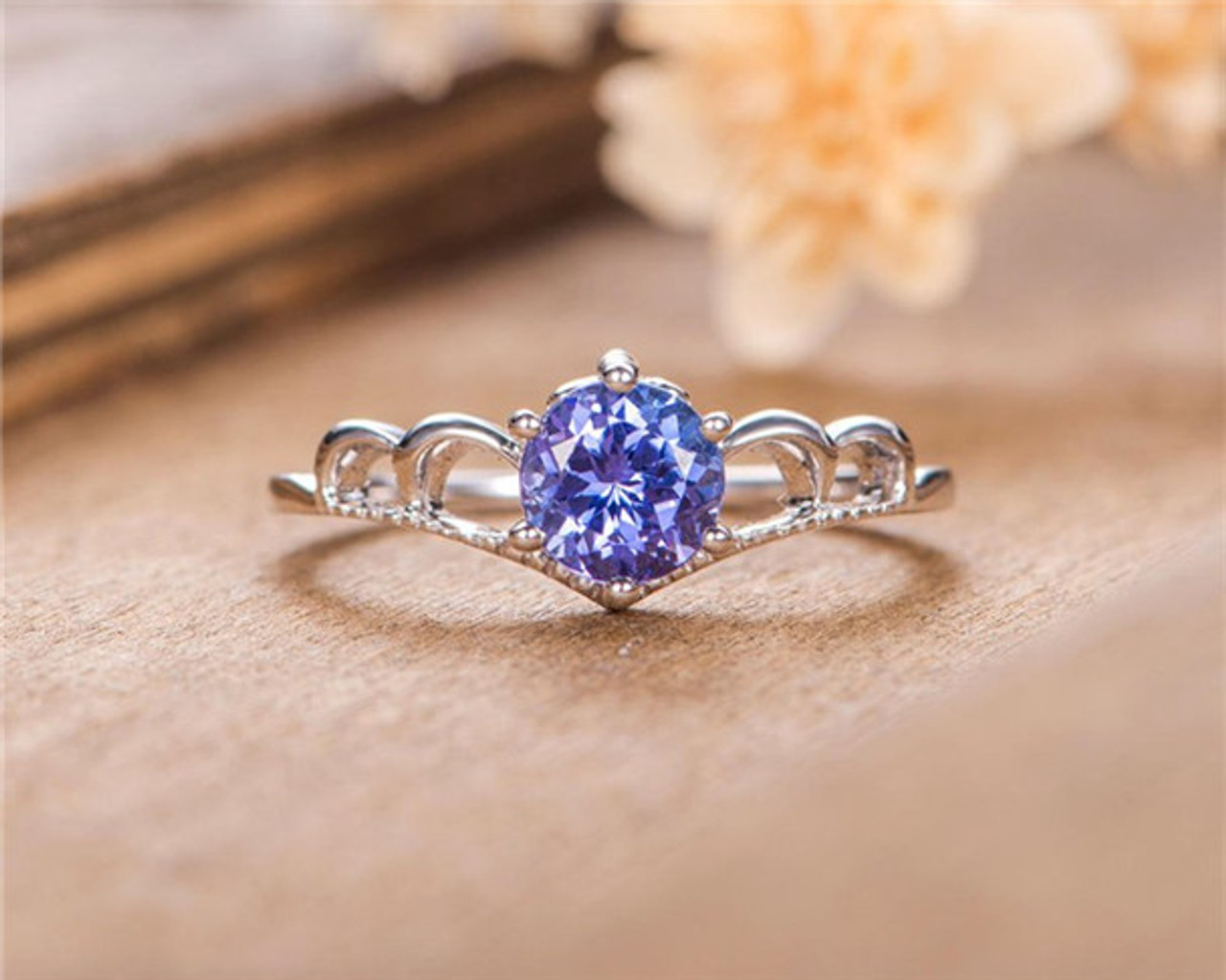Round Cut Natural Tanzanite Engagement Ring White Gold Anniversary Gift For Women Simple May Birthstone