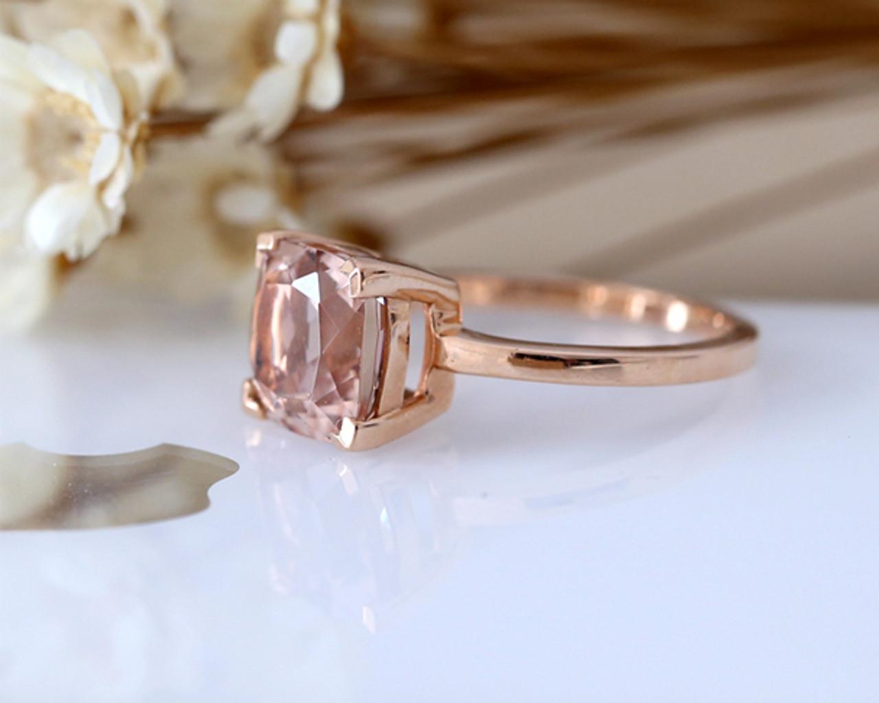Solid 14K Rose Gold 3.00 ct Cushion Morganite Bridal Set Engagement Ring Band