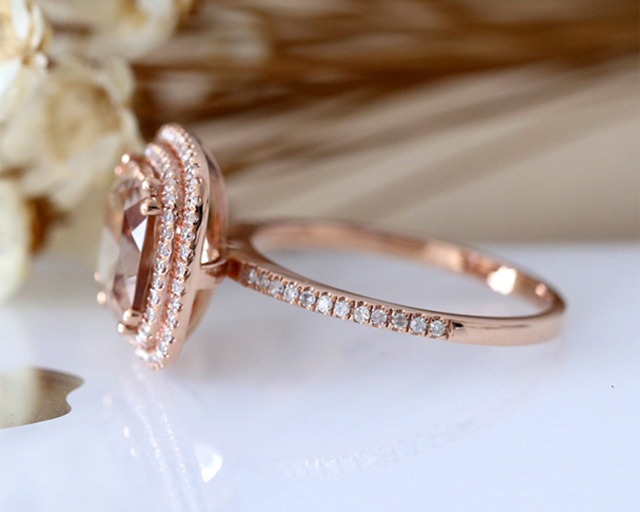 9b8a3d5b6 Cushion Cut Pink VS Morganite Ring Double Halo Diamond Paved Engagement Ring  14K Rose Gold Bridal ...