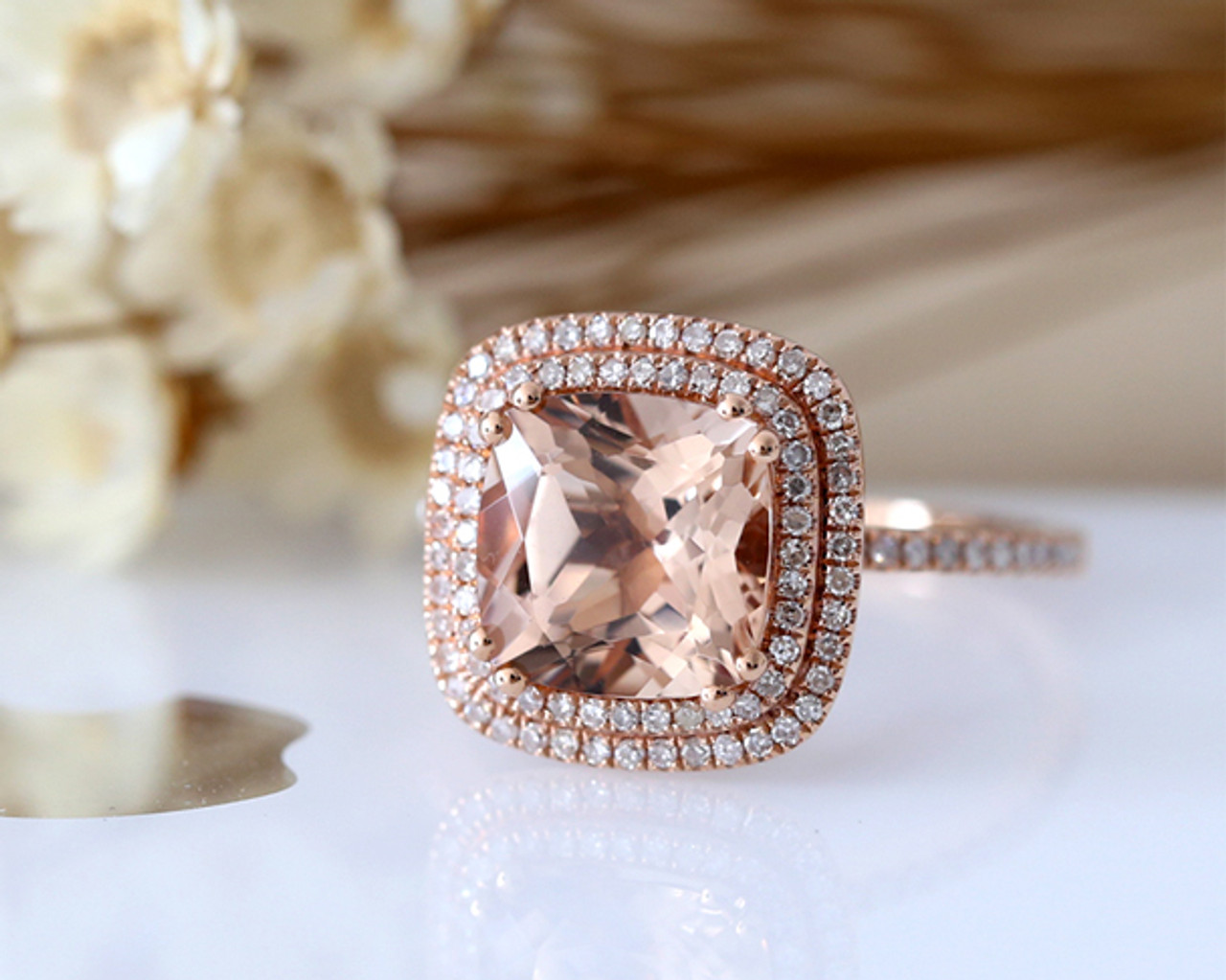 Cushion Cut Pink Vs Morganite Ring Double Halo Diamond Paved Engagement Ring 14k Rose Gold Bridal Ring Anniversary Ring