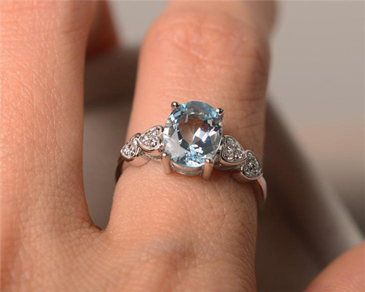 Aquamarine Ring Promise Ring- March Birthstone-Women Ring Gift Item Oval Aquamarine Engagement Ring Sterling Silver Ring