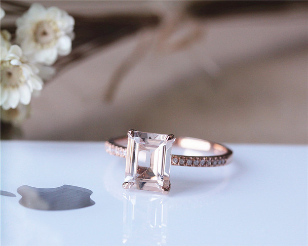 7x9mm Fancy Pink Emerald Cut Morganite Ring Solid 14K Rose Gold Ring