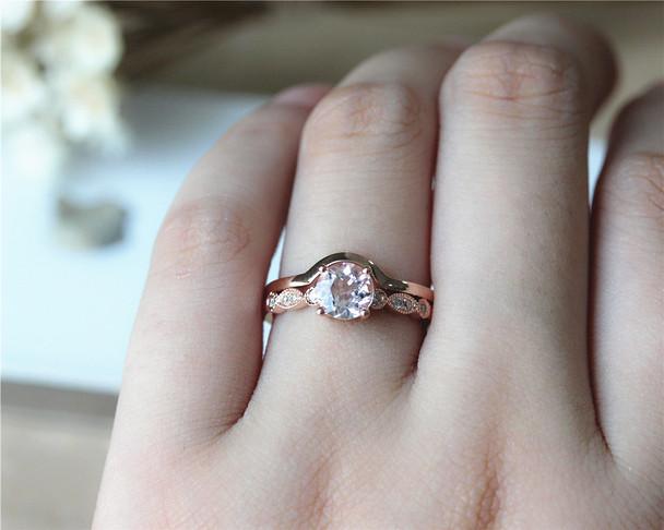 Engagement Ring Set 14K Rose Gold Natural VS Morganite Ring Set