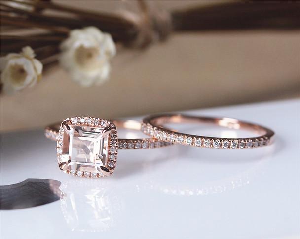 6mm Princess Cut Morganite Ring Set Solid 14K Rose Gold Ring Set