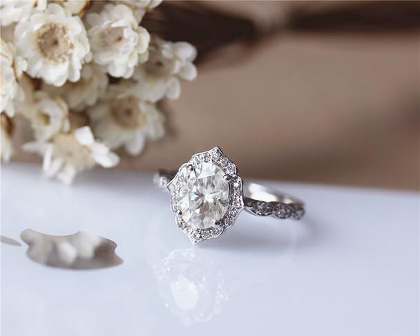 Charles & Colvard 1ct Oval Brilliant Moissanite Engagement Ring Solid 14K White Gold