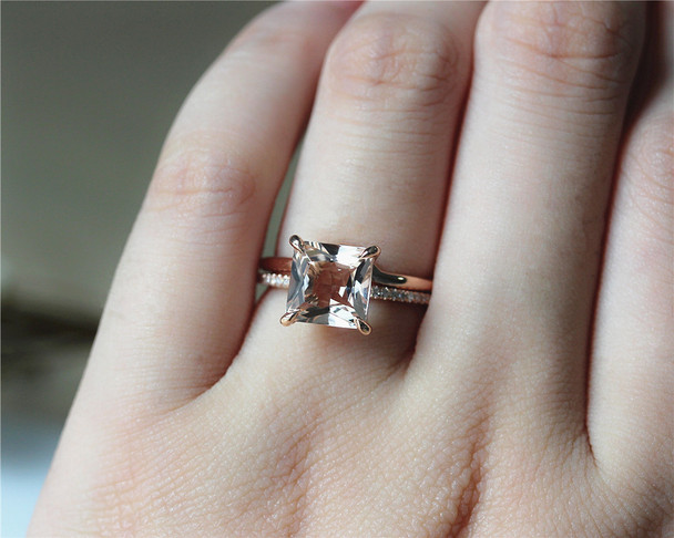 8mm Princess Cut VS Morganite Engagement Ring Set Solid 14K Rose Gold