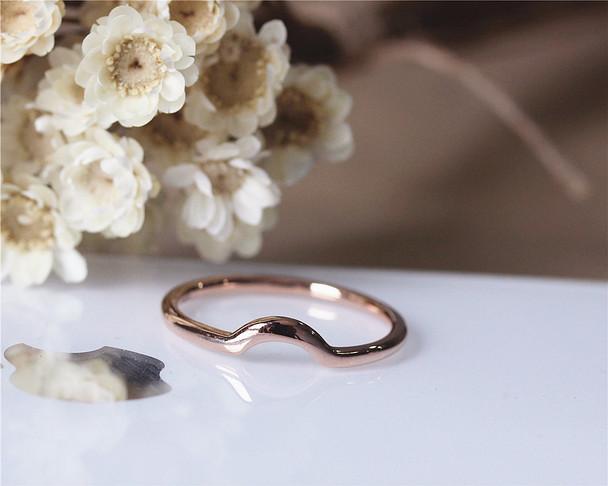 Curve Design Matching Ring Solid 14K Rose Gold Plain Band Wedding Ring