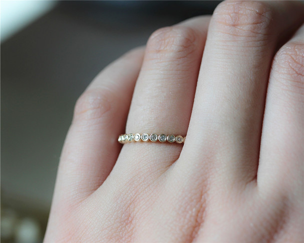 Natural Round Diamonds Wedding Ring Full Eternity Diamonds Band Solid 14K Yellow Gold Band