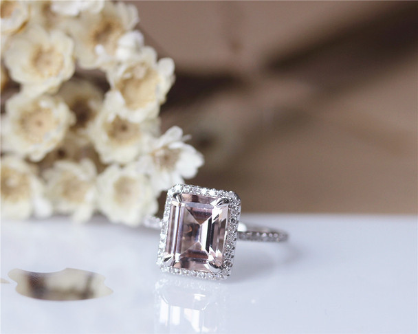VS Emerald Cut 7x9mm Halo Natural Morganite Ring Engagement Ring Solid 14K White Gold