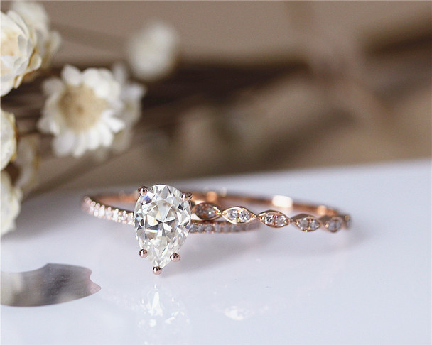 6x9mm Pear Cut Brilliant Moissanite Engagement Ring Set Solid 14K Rose Gold Ring Set