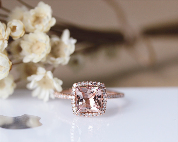 6mm Princess Cut Natural VS Morganite Engagement Ring Solid 14K Rose gold Ring