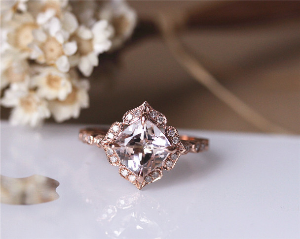 8mm Cushion Vintage Floral Natural VS Morganite Engagement Ring Solid 14K Rose gold