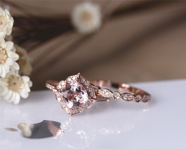 VS Cushion Natural Morganite Ring Set Solid 14K Rose Gold Engagement Ring Set
