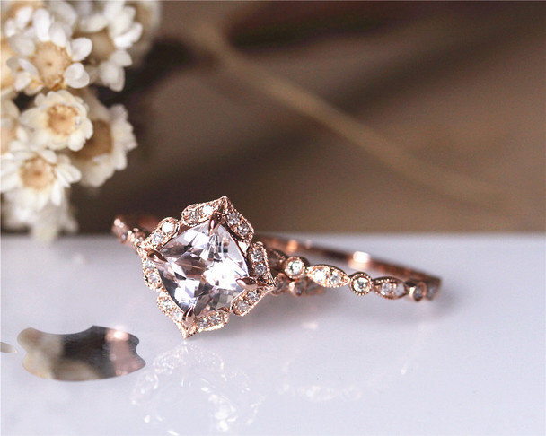 Vintage Design Engagement Ring Set 8mm Cushion Morganite Ring Set Solid 14K Rose Gold