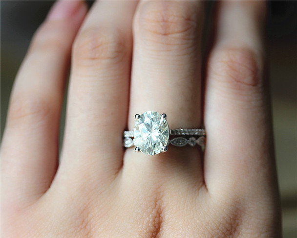3ct Oval Brilliant Moissanite Engagement Ring Set Solid 14K White Gold Ring Set