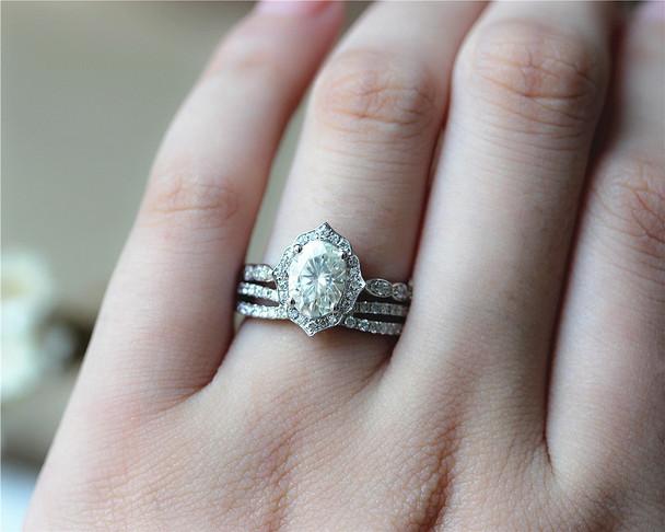 6x8mm Oval Brilliant Moissanite Engagement Ring Set Solid 14K White Gold Ring Set