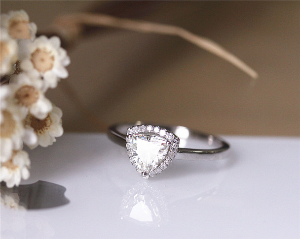 Unique Trillion Cut 0.8ct Charles and Colvard Brilliant Moissanite Ring Solid 14K White gold