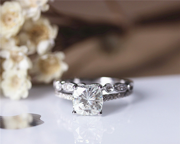 Cushion 2ct Charles & Colvard Brilliant Moissanite Engagement Ring Set Solid 14K White Gold