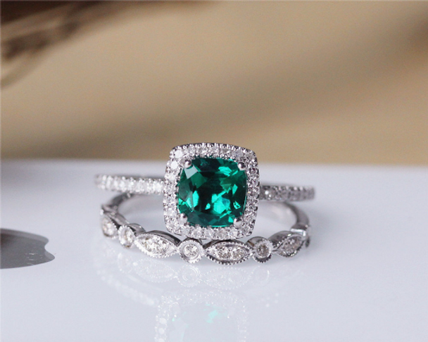 Cushion Treated Emerald Ring Set Solid 14K White Gold Emerald Engagement Ring Set