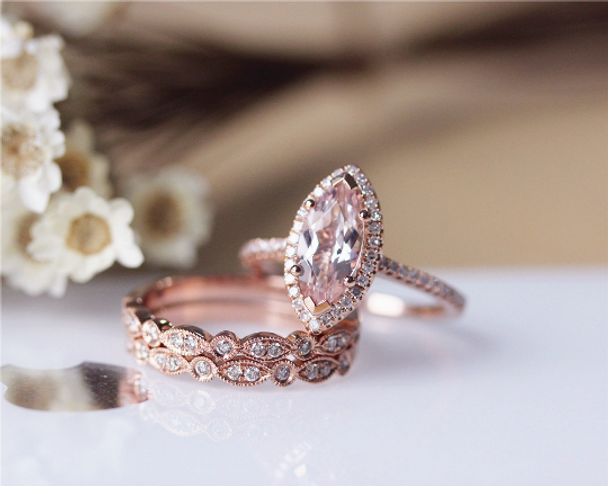Unique Marquise Morganite Ring Set Solid 14K Rose Gold  Morganite Engagement Ring Set Wedding Ring Set