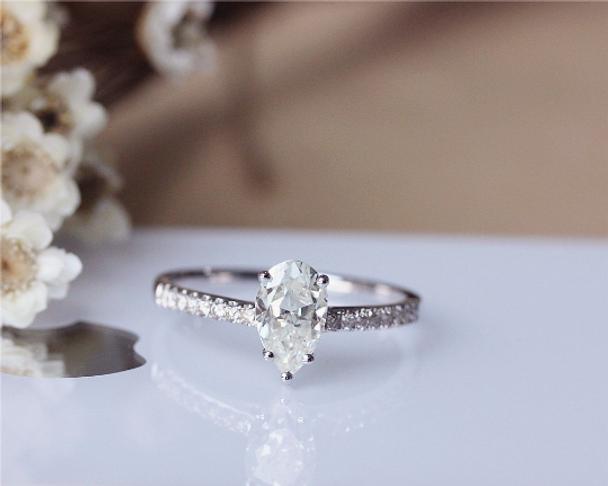 5x8 mm Pear Forever Classic Moissanite Ring Solid 14K White Gold Moissanite Engagement Ring Wedding Ring