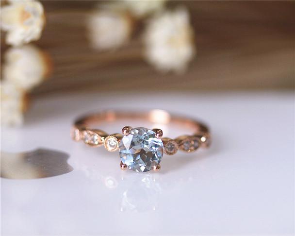 6mm Round Aquamarine Ring Solid 14K Rose Gold Aquamarine Engagement Ring Wedding Ring