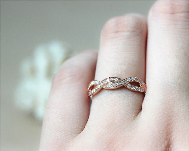 Fancy Wedding Band Half Eternity Natural Diamond Band Solid 14K Rose Gold Diamond Engagement
