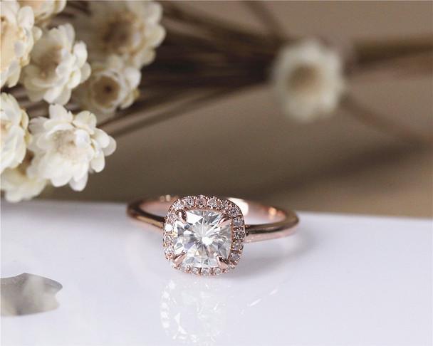 1.1ct Forever Brilliant Cushion Moissanite Engagement Ring Solid 14K Rose Gold Diamond Ring