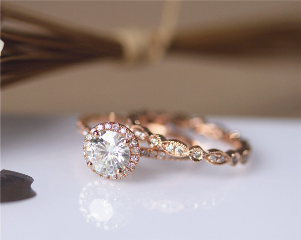 1.2ct 7mm Brilliant Moissanite Engagement Ring Set Solid 14K Rose Gold Wedding Ring Set