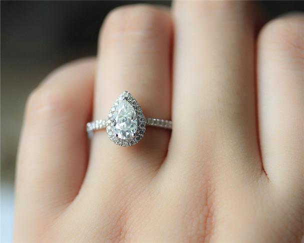 Charles & Colvard Pear Moissanite Engagement Ring Solid 14K White Gold Moissanite Ring