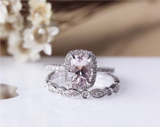 Solid 14K White Gold 6x8mm Oval Morganite Ring Set Wedding Ring Set Bridal Ring Set