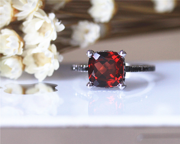 Black Diamonds Wedding Ring 8mm Cushion Natural Garnet Ring Solid 14K White Gold Wedding Ring