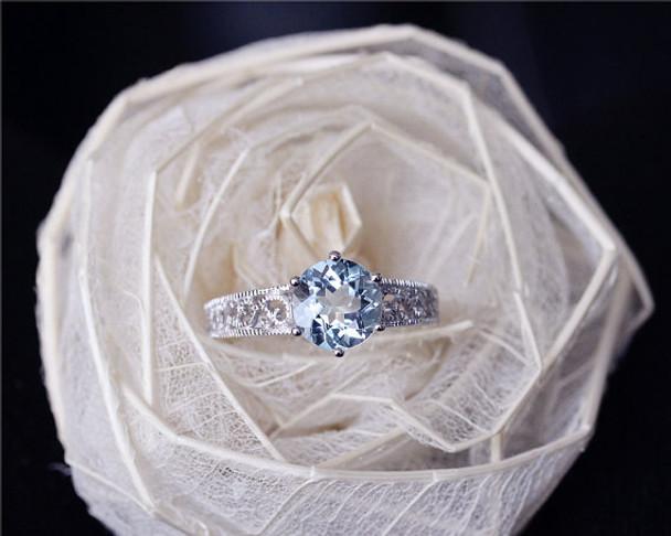 1.7ct Round Cut Aquamarine Ring Solid 14K White Gold Aquamarine Engagement Ring Wedding Ring