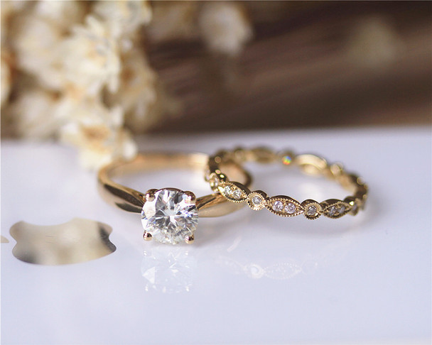 CC Stone 1ct Round Brilliant Moissanite Engagement Ring Set Solid 14K Yellow Gold Ring Set