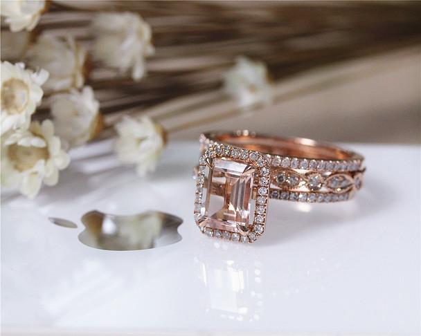 3PCS Engagement Ring Set Solid 14K Rose Gold Ring Set Emerald Cut Morganite Ring Set