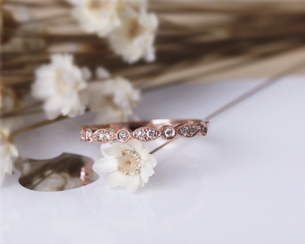 Natural Diamond Wedding Band Milgrain Bezel Solid 14K Rose Gold Diamond Engagement Band Half Eternity
