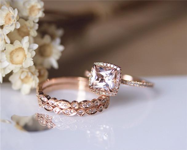3PCS ring set Princess Cut 14K Rose Gold Morganite Ring Set Morganite Engagement Ring Set