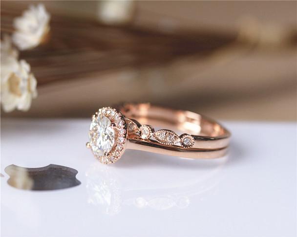 1ct Round Brilliant Moissanite Engagement Ring Set Solid 14K Rose Gold Ring Set Wedding Ring Set