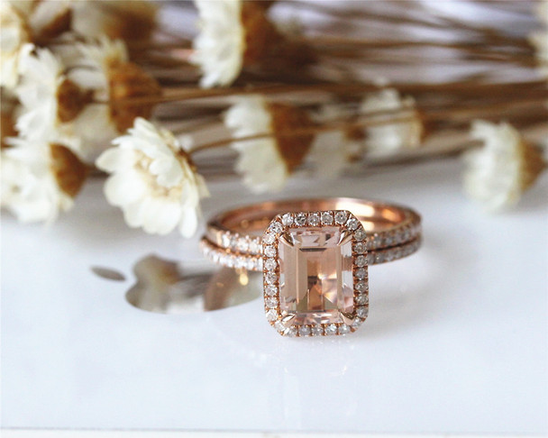 2PCS Emerald Cut Solid 14K Rose Gold Morganite Ring Set Morganite Engagement Ring Set