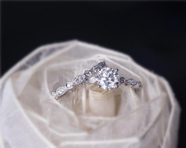 6.5mm Brilliant Moissanite Ring Set Solid 14K Gold Wedding Ring Set Moissanite Engagement Ring Set