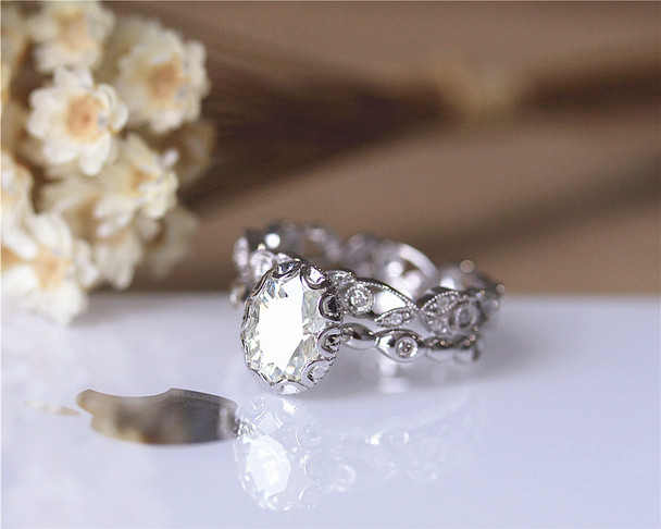 Vintage Ring Set! 1.5ct Brilliant Moissanite Ring Set Solid 14K White Gold Engagement Ring Set