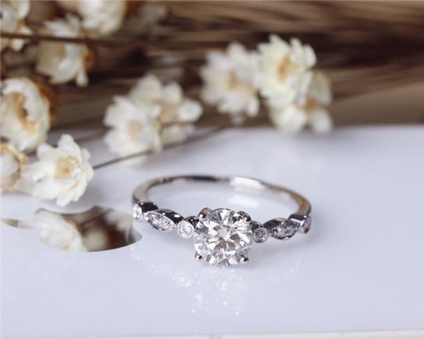6.5mm Brilliant Moissanite Ring Solid 14K Gold Wedding Ring Moissanite Engagement Ring