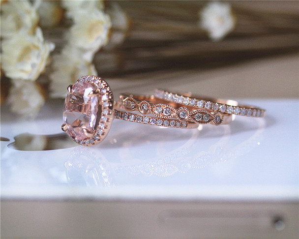 3PCS Wedding Ring Set Solid 14K Rose Gold Ring Set Oval Morganite Ring Set