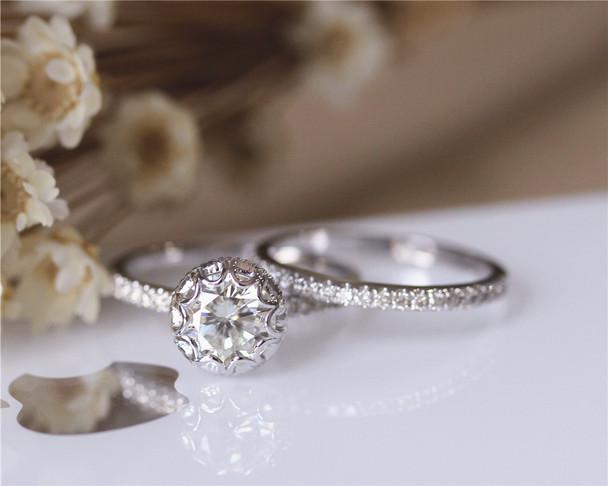 Fancy 1ct Brilliant Moissanite Engagement Ring Set Solid 14K White Gold Wedding Ring Set
