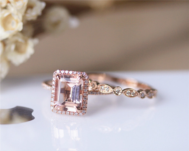 7x9mm Emerald Cut VS Morganite Solid 14K Rose Gold Ring Set Morganite Engagement Ring Set