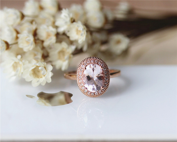 Oval Natural Morganite Ring 7x9mm Solid 14K Rose Gold Oval Morganite Engagement Ring