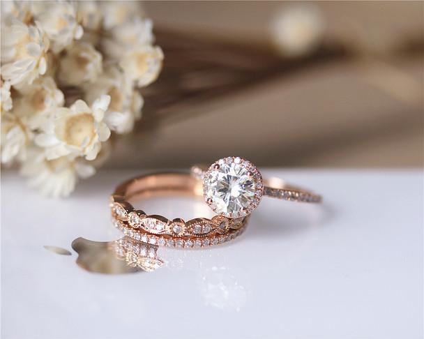 Charles & Colvard Brilliant Moissanite Ring Set 3 Rings Set Solid 14K Rose Gold Wedding Ring Set