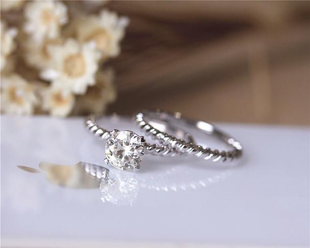 Unique Ring Set Brilliant Moissanite Engagement Ring Set Solid 14K White Gold Wedding Ring Set